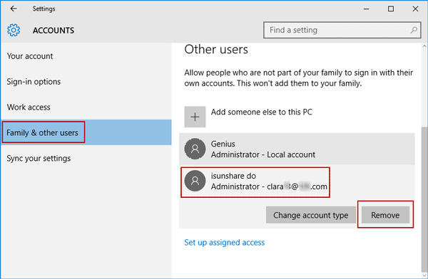 choose to remove unwanted windows 10 account in settings