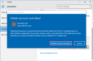 delete windows 10 account and data