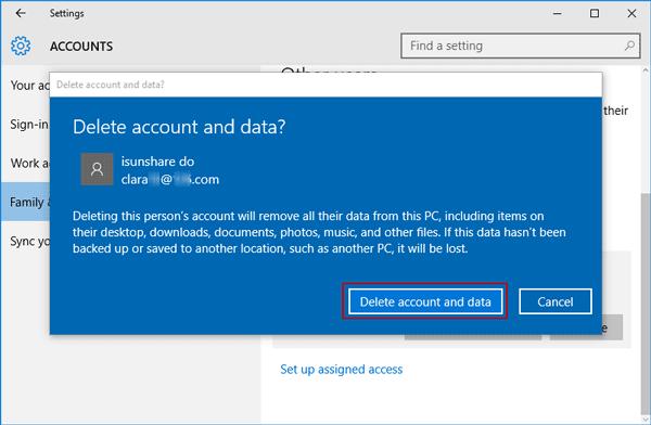 delete windows 10 account and data
