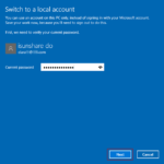 enter current Microsoft account password