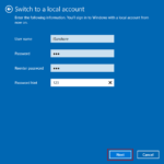 enter local account information