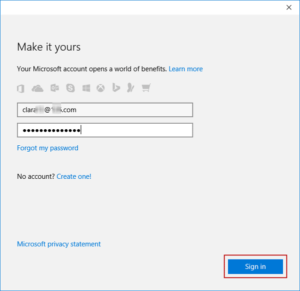 enter Microsoft account and password to sign in