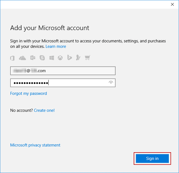 enter Microsoft account to add to windows 10