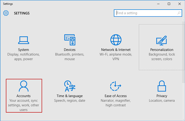 open windows 10 account settings