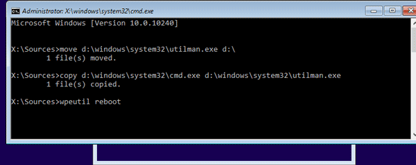 open command prompt on system installation interface