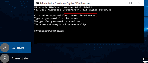 remove windows 10 administrator password with command
