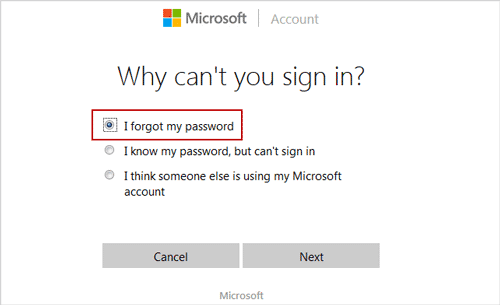 reset Microsoft account password with network