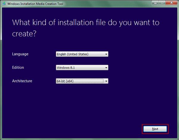 run windows 8 media creation tool on