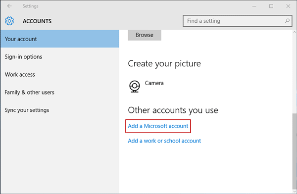 select to add Microsoft account to Windows 10