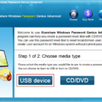 select USB device to burn Windows Password Genius Advanced