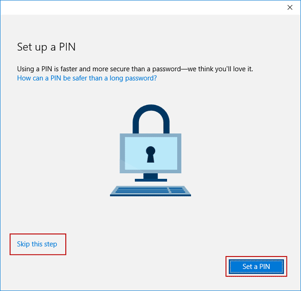 set PIN for Microsoft account or not