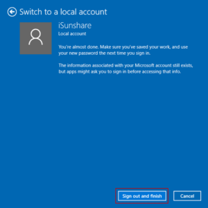 sign out Microsoft account and finish switching to local account