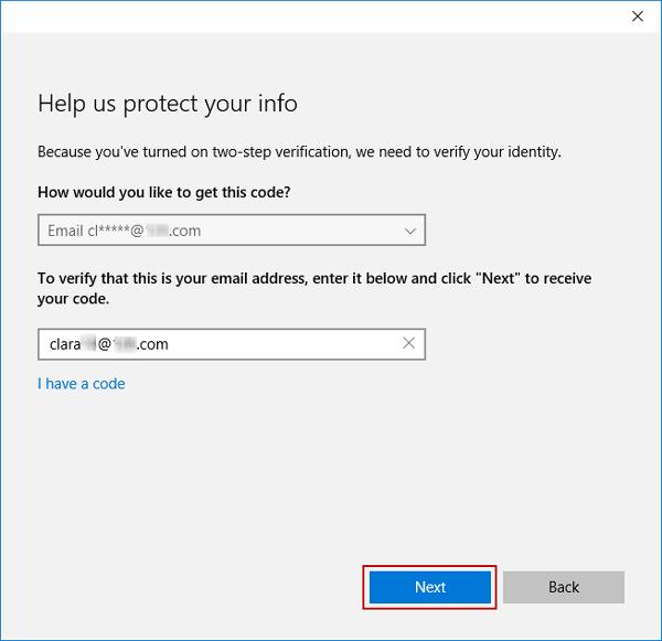verify Microsoft account in Windows 10