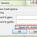 change general options to disable excel file read only