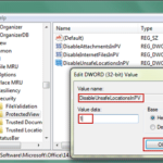 change value data to disable protected view in registry
