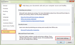 choose to change trust center settings