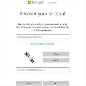 enter Windows Live ID need to reset password