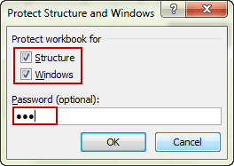 protect workbook for structure and windows with password