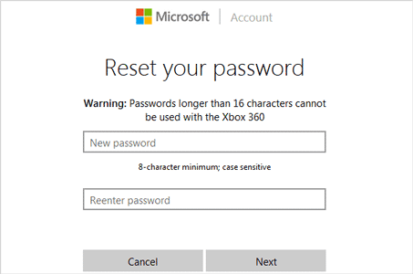 reset Windows Live ID password online