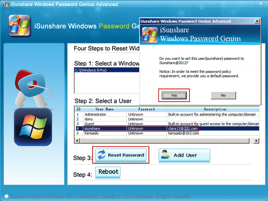 reset Windows Live ID forgotten password with third-party tool