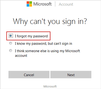 select reason on online Windows live id password reset webpage