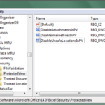 successfully disable protected view for excel 2010 via registry