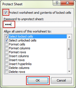 type password to protect excel sheet