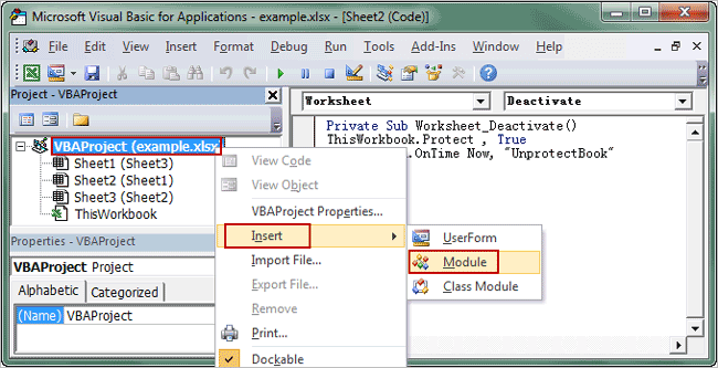 add a module for excel VBA project