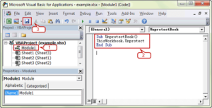 add codes to module to deactivate excel