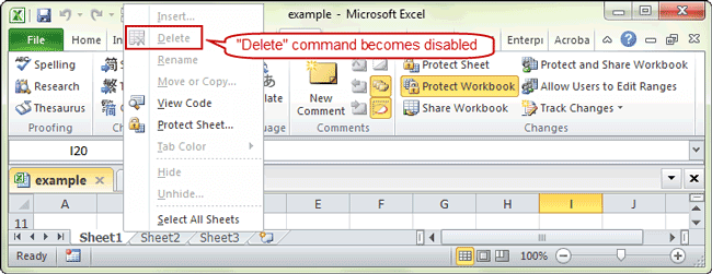 cannot delete excel sheet without password