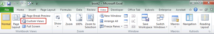 choose custom view feature in excel