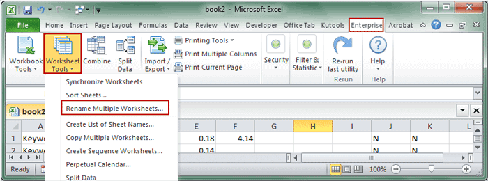 choose to rename multiple worksheets with Kutools for Excel