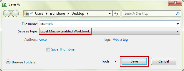 choose to save as excel macro-enabled workbook
