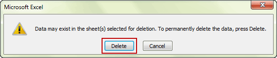 confirm to delete excel sheet