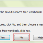 confirm to save macro to excel workbook