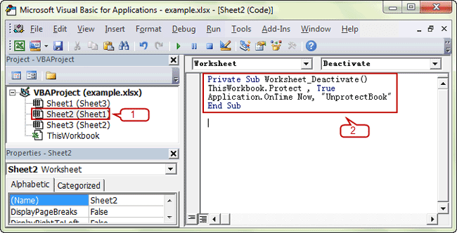 enter VBA code to protect excel sheet
