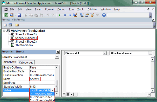 hide or unhide a sheet with VBA