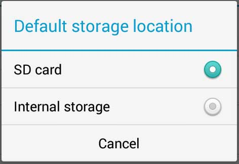 set sd card as default storage