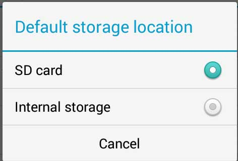 set sd card as default-storage