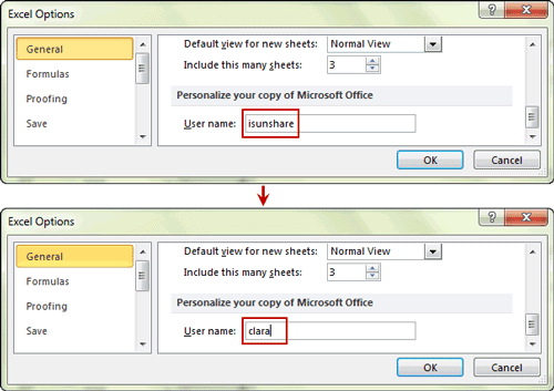 change user name for new comments in excel options