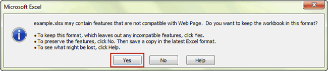 confirm to save as web page