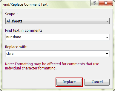 set parameters to find and replace comment user name