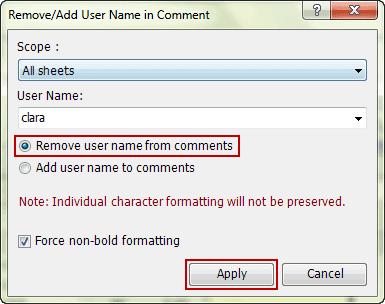 set parameters to remove user name from existing comments
