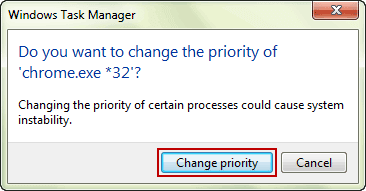 confirm change the priority of process