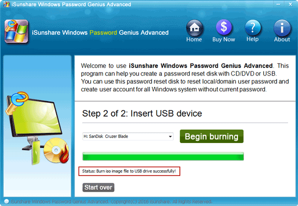burn disc with windows password genius