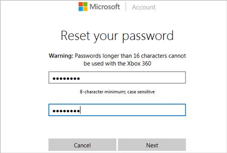 change email login password on Microsoft page