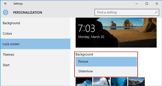 change windows 10 lock screen background