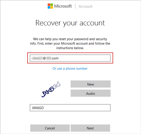 enter email account password forgot