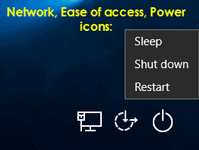 icons on windows 10 login screen