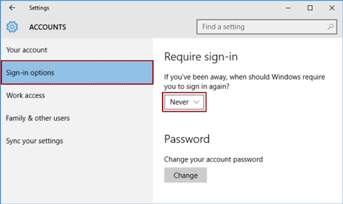 never require sign in after away from windows 10